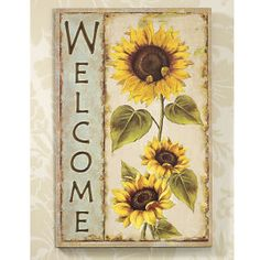 ***No Pin Limits!***Country Sunflower Home Decor Accents - Sunflower Welcome Wooden Plaque. Tole Painting, Painting On Wood, Sunflower Kitchen Decor, Sunflower Art, Sunflower Quotes, Wooden Plaques, Home Decor Accessories, Accent Decor, Wood Crafts