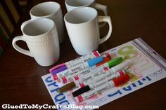 DIY Painted Mugs - That Won't Wash Away {Craft} (Blog author suggests we use the oil based Sharpie Pens)