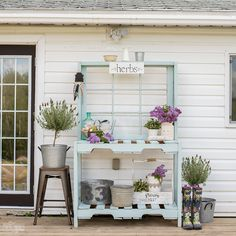 Learn how to build a potting bench from pallets, recycled lumber and an antique window with this step-by-step tutorial. This rustic, shabby chic DIY is perfect for your farmhouse style garden! This post is part of this year's Outdoor Extravaganza blog hop hosted by Shauna of Satori Design for Living. After you've read
