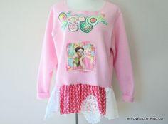 Frida Sweatshirt Upcycled Women's Shabby Boho Clothing Size XL Ladies Juniors Tops Reloved Clothing Co by RelovedClothingCo on Etsy