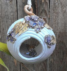 Hanging+Coiled+Ceramic+Bird+House+or+Feeder+by+RJMceramics+on+Etsy,+$35.00