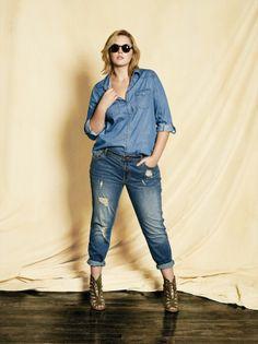Plus size model Georgina Burke wearing a SUKO medium wash denim shirt with BUFFALO boyfriend jeans. Available at Addition Elle, your plus size destination. #plussize