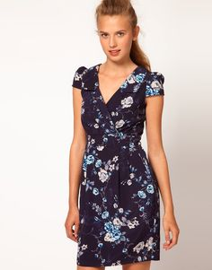 SALE! BRAND NEW ASOS A |WEAR from UK Floral Print Wrap Dress in NAVY PRINT UK14