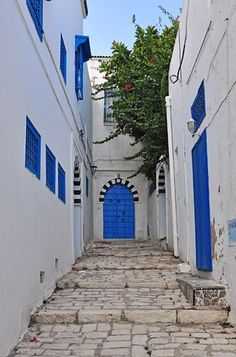 Tunisia // white and blue, town, small, friendly, beach. Travel Around The World, Around The Worlds, Just Dream, Outdoor Doors, World Photography, Travel Memories, Beautiful Places To Visit, North Africa, Africa Travel