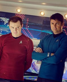 Reboot-verse Scotty and Bones looking skeptical about something.