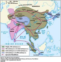 spread of Buddhism map. Mystery of History Volume Lesson 63 History Of India, Asian History, World History, Ancient History, India World Map, India Map, Geography Map, Mystery Of History, Dunhuang