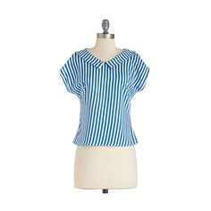 ModCloth Nautical Short Short Sleeves Rather Be at the Beach Top ($15) ❤ liked on Polyvore featuring tops, apparel, blue, woven top, stripe top, embellished tops, night out tops, peter pan collar top and evening tops