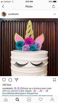 Happy 30th Birthday, Unicorn Birthday Parties, Birthday Cake, Unicorn Cake Topper, Buttercream Cake, Cake Toppers, Birthdays, Food And Drink, Cakes