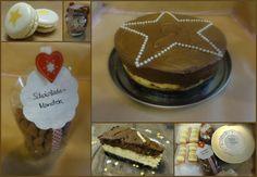 Macarons mit gesalzener Karamell-Kaffee-Füllung  Trinkschokolade-Mix  Schokomandeln  Chocolate Mousse Cheesecake