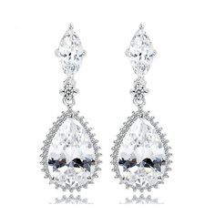 OL Fashion Big Water Drop Earrings AAA Clear CZ Crystal Earrings For Women Bridal Wedding Dangle Earrings Accessories Gift Diamond Dangle Earrings, Crystal Earrings, Women's Earrings, Bridal Necklace, Wedding Earrings, Wedding Jewelry, Pearl Chandelier, Chandelier Earrings, Fashion Earrings