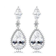 OL Fashion Big Water Drop Earrings AAA Clear CZ Crystal Earrings For Women Bridal Wedding Dangle Earrings Accessories Gift Diamond Dangle Earrings, Crystal Earrings, Women's Earrings, Bridal Necklace, Wedding Earrings, Wedding Jewelry, Pearl Chandelier, Chandelier Earrings, Women Jewelry