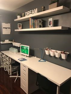 Home Office Space, Home Office Design, Home Office Decor, Home Decor, Kids Homework Room, Homework Station, Study Rooms, Study Space, Kids Workspace