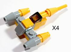 Four LEGO Star Wars mini Naboo Starfighter party favors #LEGO