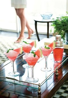 Pretty in pink: watermelon cocktails.