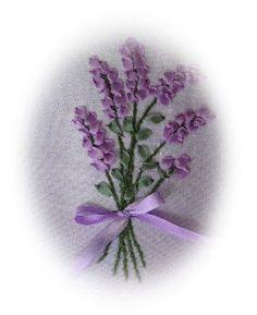 Silk Ribbon Embroidery: Lavender in Silk Ribbon from Daisy's Garden Blog