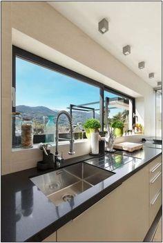 Most Noticeable Awesome Kitchen Window Design 24 - homevignette Kitchen Room Design, Modern Kitchen Design, Home Decor Kitchen, Kitchen Furniture, Kitchen Interior, Kitchen Ideas, Beautiful Kitchens, Cool Kitchens, Modern Kitchens