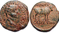 Antigua moneda romana con el nombre de la localidad latina Cascantum.