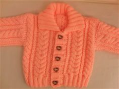 Knitted Unisex Cabled Cardigan with a Collar, Baby Shower Gift, New Baby Gift Baby Cardigan Knitting Pattern Free, Baby Sweater Patterns, Baby Boy Knitting, Knitted Baby Cardigan, Knit Baby Sweaters, Knitted Baby Clothes, Cable Cardigan, Baby Outfits, Kids Outfits