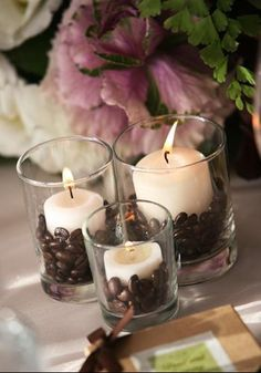DIY: Coffee Bean Votives – turn your ordinary candles into scented candles. mmmm… DIY: Coffee Bean Votives – turn your ordinary candles into scented candles. mmmm the aroma of coffee. Coffee Bean Candle, Coffee Beans, Coffee Bean Decor, Coffee House Decor, Deco Cafe, Decoration Evenementielle, Deco Nature, Brunch Wedding, Decor Wedding