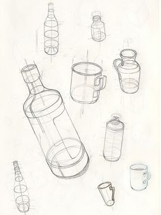 bleistift Basic Bottle Drawings – Keep up with the times. Basic Sketching, Basic Drawing, Technical Drawing, Basics Of Drawing, Perspective Drawing Lessons, Perspective Art, Pencil Art Drawings, Art Drawings Sketches, Geometric Shapes Drawing