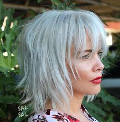 60 Best Variations of a Medium Shag Haircut for Your Distinctive Style Razored Gray Bob with Bangs Medium Length Hairstyles, Medium Shag Haircuts, Bob Hairstyles For Fine Hair, Layered Bob Hairstyles, Hairstyles Over 50, Haircuts With Bangs, Older Women Hairstyles, Short Haircuts, Modern Haircuts