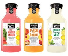 Minute Maid Lemonade with Mint, Spicy Watermelon Lemonade, and Peach with Ginger Juice Drink.