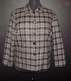 Womens plus size blazer-20W-Sag Harbor blazer jacket black and tan plaid #SagHarbor #Blazer