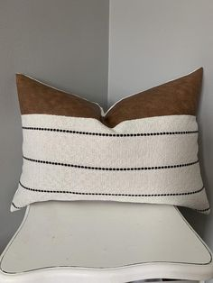 Your place to buy and sell all things handmade : Excited to share this item from my shop: Brie – gorgeous faux leather and thick upholstery fabric lumbar pillow white and black stripe cognac leather Leather Throw Pillows, White Throw Pillows, Leather Pillow, Boho Pillows, Diy Pillows, Cushions, White Pillow Covers, White Decorative Pillows, Couch Pillows