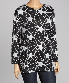 Love this Black & Gray Star Top - Plus by Boom Boom on #zulily! #zulilyfinds