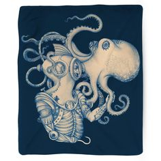 When diver meets discovery, this work of art is born: Deep Sea Discovery. Blanket Details: - Printed in USA! - Poly Fleece Plush Material - Custom Printed on front - Taupe Color Brushed Fabric Bottom