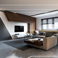 faux plafond moderne design salon canapé