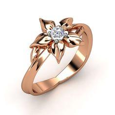 14K Rose Gold Ring with Diamond BEAUTIFUL!