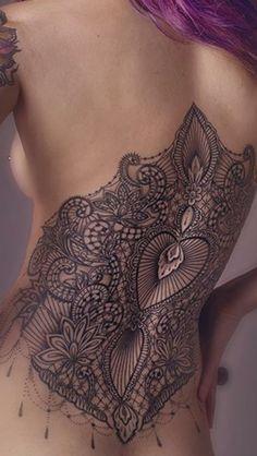 Corsetto lace pizzo bustino ornamental back piece  tattoo dotwork