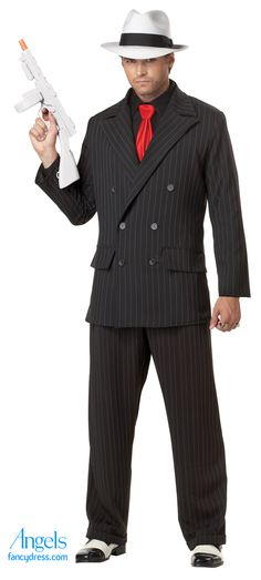 What a great way to transform into a gangster. Whether the fancy dress party theme is Chicago, 1920's or Gangesters and Molls, you will rock in this pinstripe slim fit suit. The trousers come with suspenders and shirt has an attached tie. Accessories such as hat and toy gun are available separately. http://www.fancydress.com/costumes/Mob-Boss-/0~4344023~179