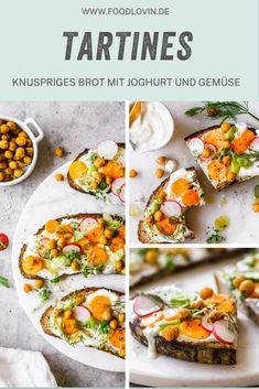 Super schnelle Tartines mit knusprigem Brot, frischem Joghurt und Ofengemüse