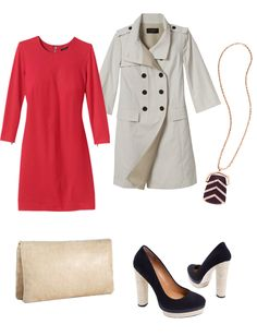Ann Taylor dress and peacoat