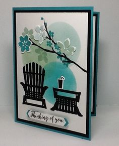 This card just sort of came together. Making a background by creating a mask with which sponge in the globes seems to call for a silhouette of come sort. The Adirondack chair fit the bill for this relaxing and serene scene.