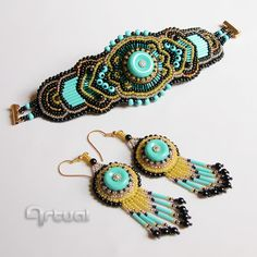 OOAK bead embroidery cuff and earrings