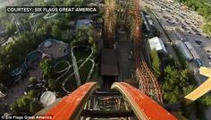 Don't look down: After climbing up 180ft the roller coaster plunges down a near-vertical drop