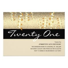 Birthday | Twenty One | Glitter Glamour Card - birthday invitations diy customize personalize card party gift