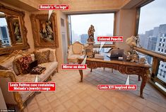 Melania's office: A Louis Vuitton case of jewelry sits on couch as a reproduction of Renoi...