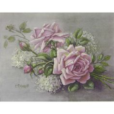 Christie Repasy Pink Roses with Snowballs Original Canvas Print
