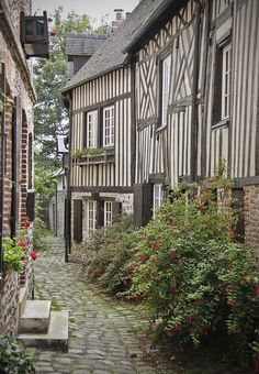 Half-timbered houses ~ Honfleur, France…in the Calvados Region of France.