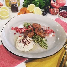 Saliha's lamb meatballs with herbed cous cous and smoked aubergine puree