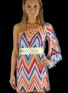 Multi Party Dress - Multi Color Chevron Print One