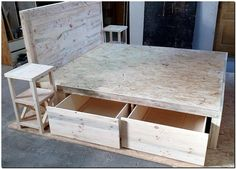 From the first look, it can't be judged that there can be a storage space fitted under the reclaimed wood pallet bed; but it allows the placement of items for which you can see the drawers. The drawers can store the extra blankets and the bedspread after they are washed because they can be kept safe from the dust and dirt.