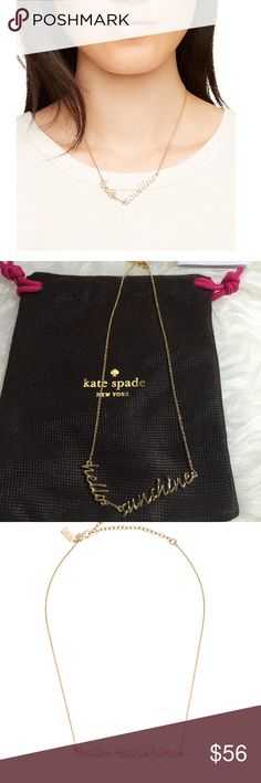 """Kate Spade Hello Sunshine Necklace Kate Spade hello sunshine necklace. Shiny 12 karat gold plated metal. Lobster claw closure. 16"""" length. Price firm. kate spade Jewelry Necklaces"""