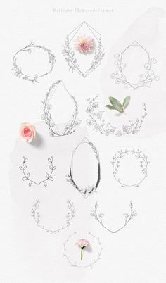 Hand-drawn Botanic elements Wildflowers Rustic Wreaths