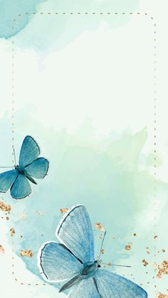 Dotted frame with blue butterflies patterned mobil Blue Butterfly Wallpaper, Butterfly Background, Flower Background Wallpaper, Flower Backgrounds, Wallpaper Backgrounds, Iphone Wallpaper, Butterfly Watercolor, Frame Floral, Flower Frame