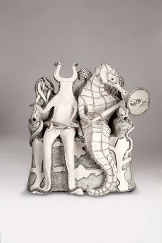 Katharine Morling   Two headed fish and seahorse - Morling and the Hoard Earthstone, porcelain slip, porcelain and black stain An artist's response to the Staffordshire Hoard as part of the Cultural Olympiad.